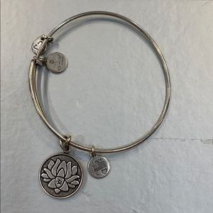 Silver Alex and Ani Lotus Flower Bracelet